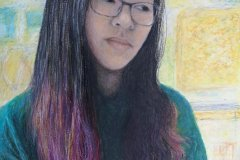 """'Doubts' by Angela Rigby Doble - oil pastel (15"""" x 12"""")"""