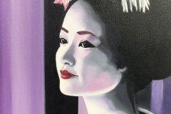 "'Geisha' by Vivien Lee - oil (21.5"" x 19.5"") £120 - contact: info@grosvenorarts.org.uk"