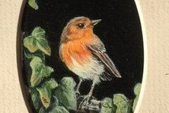 "'Robin' by Marion Tuffrey - acrylic (2"" x 3"") £50 - contact: info@ewa-uk.com"
