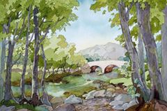 "'Afon Llugwy, near Ty Hyll' by Anne Bonner - watercolour & pen (mounted to 16"" x 20"") £110 - contact: info@grosvenorarts.org.uk"